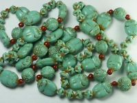 ANTIQUE ART DECO CZECH MAX NEIGER GLASS BEADS NECKLACE EGYPTIAN REVIVAL SCARAB