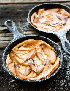 Caramelized Pear Oven Pancake. Been dying to try and make one of these babies in my new seasoned cast iron skillet