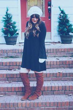 Bell Sleeve Dress & OTK Boots - The Belle Life