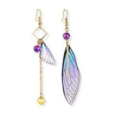 Goleta Butterfly Wings Earrings Design: Butterfly Wings Metals Type: Zinc Alloy Size: by Wing Earrings, Butterfly Earrings, Butterfly Wings, Statement Earrings, Dangle Earrings, Ankle Tattoos For Women Anklet, Heart Chain, Purple Yellow, Resin Art