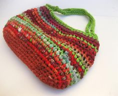 "Fabric and Plarn Crocheted Rag Bag ""Watermelon"" on TAFA"