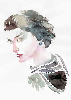 Coco Chanel illustration by Samantha Hahn Chanel Nº 5, Perfume Chanel, Chanel Brand, Chanel Fashion, Chanel Cake, Chanel Style, Mademoiselle Coco Chanel, French Fashion Designers, Watercolor Portraits