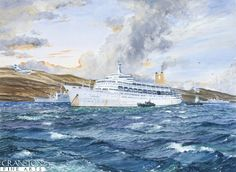 Friday 28th May 1982, the P&O liner Canberra survives repeated attacks by Argentinian Skyhawk and Mirage fighter bombers in San Carlos water during