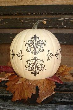 White pumpkin with black stencil = LOVE