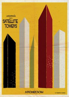 """Luis Barragan - Satellite Tower. Federico Babina is back with his latest illustration! This time, he explores 23 works of architecture through the lens of one interesting or intense detail that speaks to the character of the work as a whole. Seeing these illustrations as movie posters, which use visual imagery to suggest, insinuate, and convey """"the essence"""" of the film, each illustration reflects the work and the architect's aesthetic overall."""