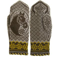 Perfect present for any horse-loving girl! Fingerless Mittens, Knit Mittens, Knitted Gloves, Double Knitting Patterns, Knitting Charts, Minion Baby, Sampler Quilts, Mittens Pattern, Fair Isle Knitting