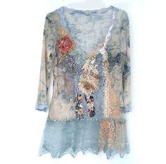 RESERVADO para B puro Romanceblusa textil collage por FleursBoheme