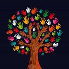 Colorful diversit� albero mani Illustration.Illustration livelli di facile manipolazione e la colorazione personalizzata.