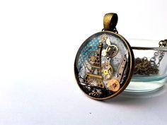 Paris, Eiffel, Steampunk Resin Pendant with Vintage Watch by EmilyRayAccessories