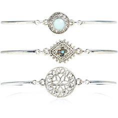Accessorize 3X Delicate Ethnic Bangle Bracelets ($20) ❤ liked on Polyvore featuring jewelry, bracelets, bangle charms, stone bangles, accessorize jewellery, filigree jewelry and stone charms