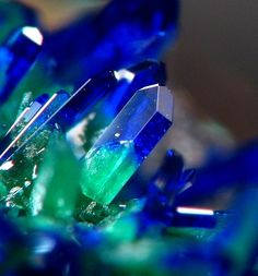 Malachite replacing Azurite, Green & Blue Crystals