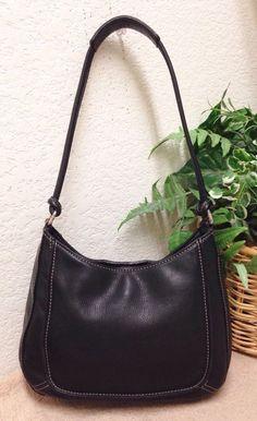 b90632d87fa5 Details about Fossil Black Pebble Leather Hobo Shoulder Bag Handbag Purse  Small