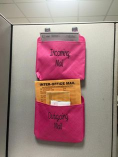 OH-SNAP POCKET for incoming and outgoing mail. Hang on your cubicle wall with Command Strips hooks! -Jen W