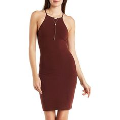 Charlotte Russe Brown Strappy Bib Neck Stretch Cotton Dress by... ($20) ❤ liked on Polyvore featuring dresses, brown, bib dress, body con dress, red body con dress, charlotte russe and red dress