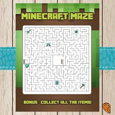 Printable Minecraft Maze Game | Minecraft Birthday | Minecraft Party Game | Minecraft Party Favor | Minecraft Activity Sheet
