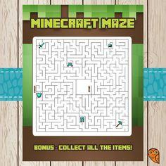 Printable Minecraft Maze Game | Minecraft Birthday | Minecraft Party Game | Minecraft Party Favor | Minecraft Activity Sheet