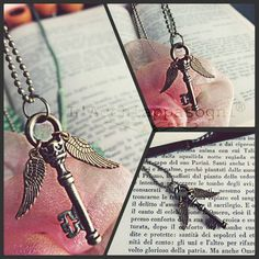 Winged Key necklace - Harry Potter jewelry - bronze - silver - sourcerer stone - wings