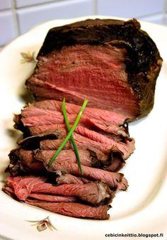 Cebicin keittiössä: Routapaisti Beef Dishes, Diet Recipes, Casserole, Steak, Roast, Good Food, Food And Drink, Keto, Baking