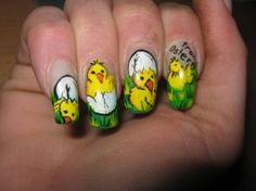 baby chick, easter, spring, cute nails