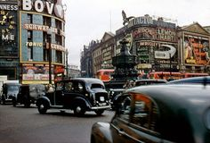 Bovril and black cabs - Piccadilly Circus in the 50s. Street View