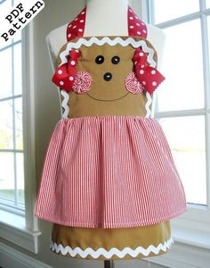 Sewing Pattern PDF Child Gingerbread Girl, Snowman, Plain Knot Aprons ...