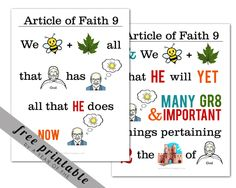 LDS Article of Faith 9 memorization poster | A Year of FHE