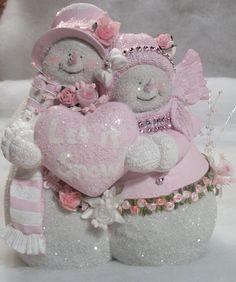 Shabby Chic Snowman Pair