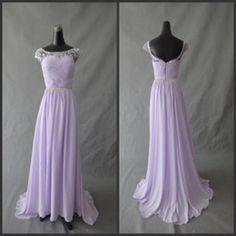 Wholesale 2013 Vintage Jewel Cap Sleeve Open Back Chiffon Floor Length Lavender Light Purple Bridesmaid Evening Dresses With Beads Swarovski...