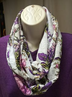 floral infinity scarf, unique, handmade by NanasSweeties51 on Etsy