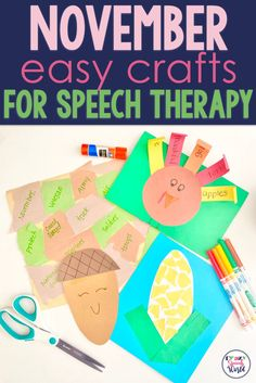 Easy crafts for fall speech therapy! Preschool Speech Therapy, Occupational Therapy Activities, Articulation Therapy, Articulation Activities, Speech Language Pathology, Speech And Language, Autumn Activities, Craft Activities, Group Activities
