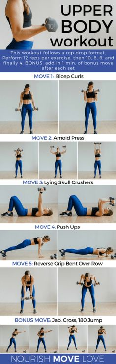 Fitness 5 Best Upper Body Exercises for Women - 30 min rep drop workout 4 reps) for a total of 5 sets Fitness Motivation, Fitness Gym, Health Fitness, Ladies Fitness, Gym Workouts, At Home Workouts, 10 Min Arm Workout, Muscle Workouts, Stairs Workout