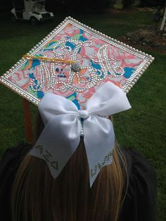 Lilly pulitzer grad cap with bow