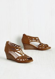Fortified With Funk Wedge. Groove and shake right into these peep toe wedges, and all youll need to complete your night is a hoppin horn section! #brown #modcloth