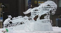 wonderful, clear ice sculpture at the Asahikawa Winter Festival