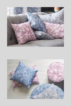 Beautiful Floral Home Interiors Collection. These cushions in my Arla design come in three colours - blue, grey and pink. They are the perfect accent for any lounge, bedroom or home interior project.  Use this design on it's own or mix with my other fabrics. #arla #flora #floraldecor #designideas #roomdecoration Three Colors Blue, Floral Cushions, Floral Design, Lounge, Room Decor, Colours, Throw Pillows, Bedroom, Pink