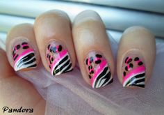 Pink Cheetah Zebra Nails