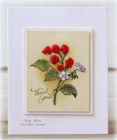 Rapport från ett skrivbord - Birgit used Serendipity Stamps Blackberries and Thank You Small rubber stamps on her card.