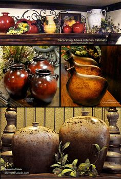 Decorating above Kitchen Cabinets - Accents of Salado Earthenware Vases - Accents of Salado Ships Nationwide. Our rustic earthenware urns and vases embellish space above kitchen cabinets. Welcome friends and family to the old world style kitchen with the beauty of rustic pottery.