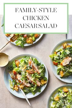 Family Style Chicken Caesar Salad #purewow #children #chicken #side dish #lunch #food #salad #cooking #recipe #dinner #family