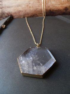 T E S L A  natural crystal quartz geometric hexagon by ArrowAndEra, $40.00