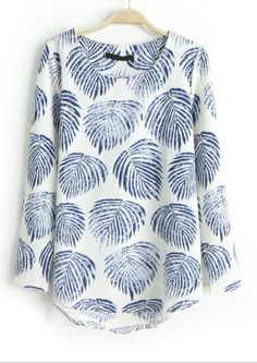 Blue Long Sleeve Leaves Print Dipped Hem Blouse