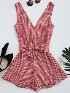 SHARE & Get it FREE | Checked Plunge Romper - Checked MFor Fashion Lovers only:80,000+ Items • New Arrivals Daily Join Zaful: Get YOUR $50 NOW!
