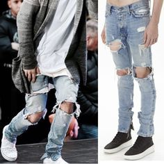 >> Click to Buy << Men's Slim Skinny Jeans Runway Straight Denim Pants Destroyed Ripped Trousers #Affiliate