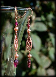 copper, garnet, & freshwater pearl earrings by morgan newberg