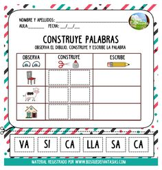 cuadernillo de silabas hoja 1 Alphabet Activities, Toddler Activities, Daily Five, Classroom Labels, Dual Language, Math For Kids, Cbt, 4 Year Olds, Word Work