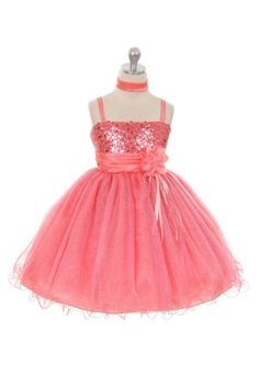 Girls Dress Style 224 - CORAL Gorgeous Sparkle Tulle and Sequin Dress  If you are looking for sparkle this dress is it. This dress is such a cute style and so much fun for any occasion. The bodice on this dress has beautiful sequin detailing and the waist is accented with a gorgeous satin sash and flower.  http://www.flowergirldressforless.com/mm5/merchant.mvc?Screen=PROD&Product_Code=MB_224CO&Store_Code=Flower-Girl&Category_Code=Coral_Peaches_Orange