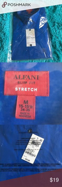 """Alfani spectrum button up long sleeve shirt For men -- a dark blue / navy blue alfani button up long sleeve shirt . """"Stretch and slim fit """"never been used never been open still has tags on the shirt and still in plastic around the shirt like shown in pictures 💙 Alfani Shirts Dress Shirts"""