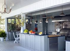 Blue countertops give this kitchen a cozy feel.