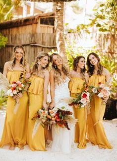 The bride went barefoot for this destination wedding in Tulum, Mexico. Maracas, pampas grass, and a surprise donkey guest are some of the eclectic details! Mustard Bridesmaid Dresses, Yellow Bridesmaid Dresses, Mustard Yellow Wedding, Wedding Yellow, Yellow Weddings, Boho Wedding, Dream Wedding, Destination Bridesmaid Dresses, Wedding Ceremony