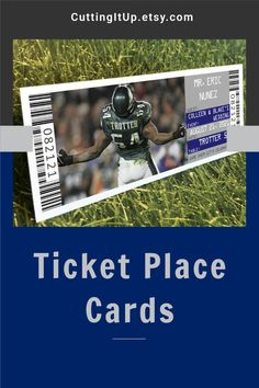 These Football Themed Ticket Place Cards are the perfect fit for your Football or other Sport Themed Wedding Reception or Bar Mitzvah. Make your place cards fit your theme by seating your guests with tickets! CuttingItUp.etsy.com Softball Wedding, Basketball Wedding, Golf Wedding, Sports Wedding, Wedding Events, Wedding Reception, Ticket Invitation, Invitations, Football Ticket